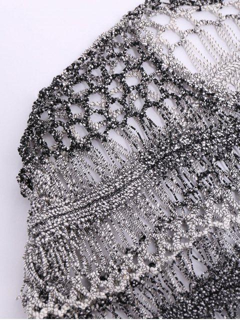 buy Dolman Sleeve Crochet Sheer Top - BLACK GREY M Mobile