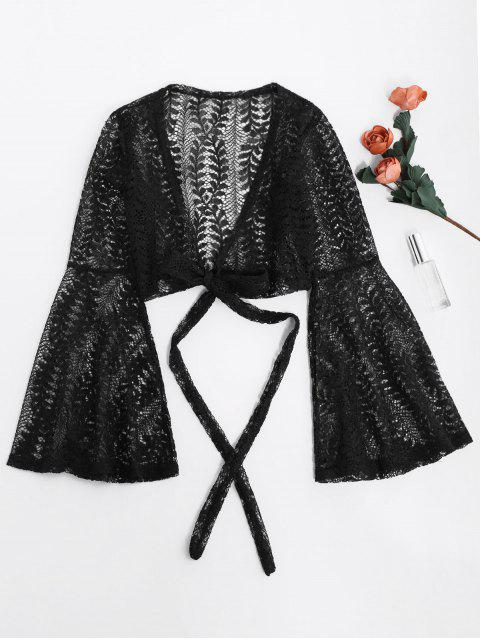 shops Flare Sleeve Crop Wrap Lace Top - BLACK S Mobile
