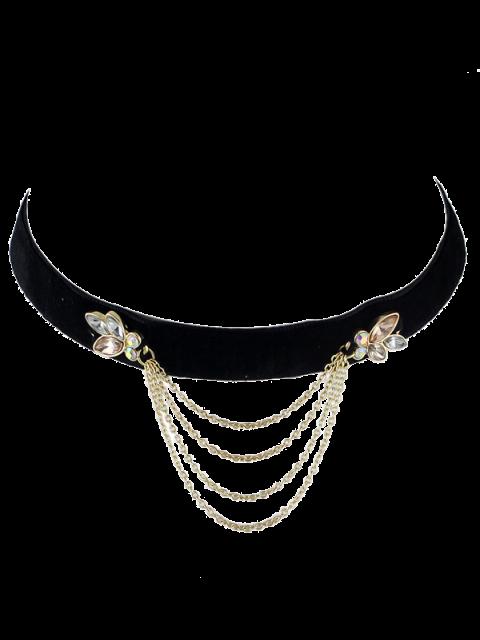 Choker rétro avec collier de strass frangé - Noir  Mobile