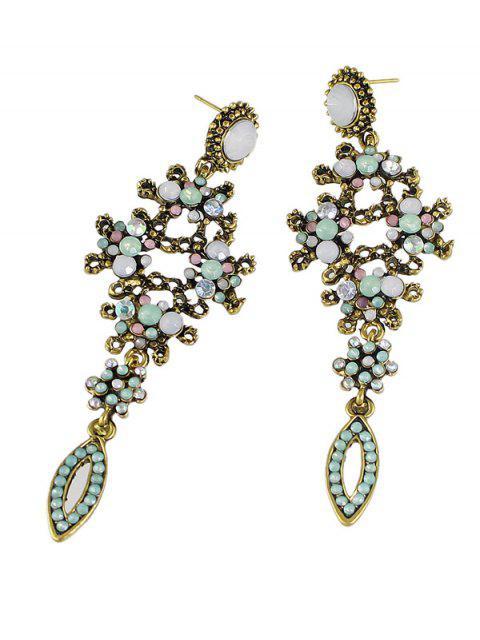 Boucles d'oreilles strass florales de style bohémien - Or  Mobile