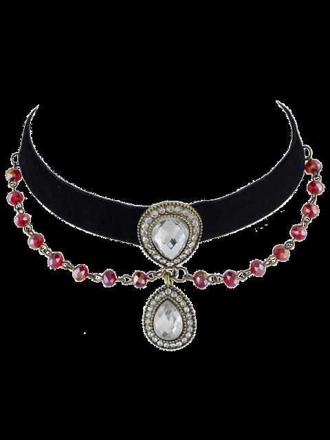 Choker de velours et collier de perles de pierres précieuses artificielles - Noir  Mobile