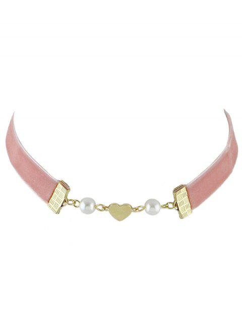 women's Faux Pearl Heart Velvet Choker Necklace - PINK  Mobile