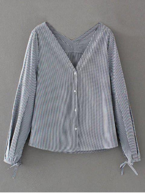 V-Ausschnitt, gestreifte Krawatte Cuff Bluse - Streifen  L Mobile