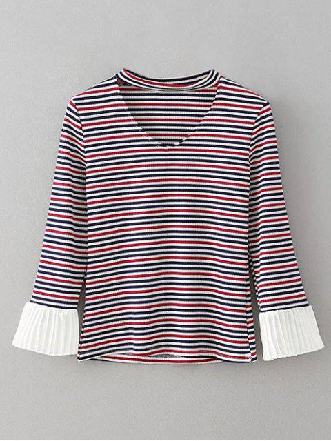 lady Chiffon Panel Striped Choker T-Shirt - STRIPE M Mobile