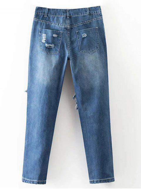 women's Cut Out Destroyed Tapered Jeans - BLUE L Mobile
