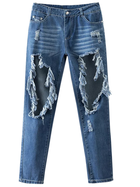 women Cut Out Destroyed Tapered Jeans - BLUE XL Mobile