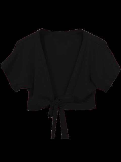 Knoten Saum vorne Crop Top - Schwarz Eine Größe Mobile