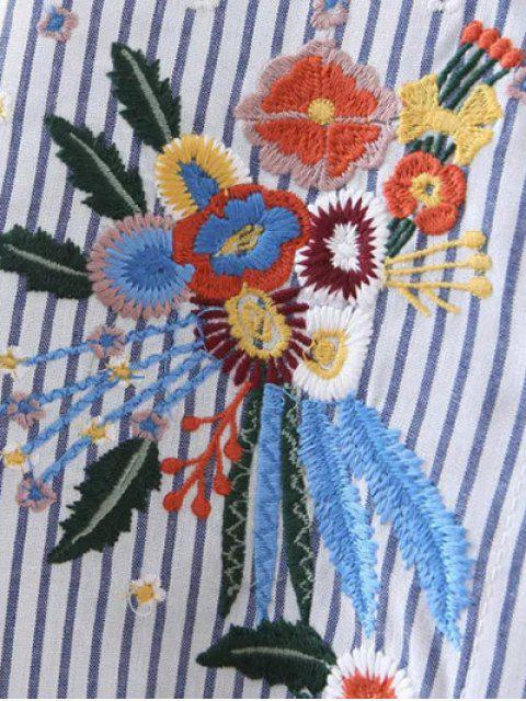 online High Low Flower Embroidered Striped Shirt - STRIPE L Mobile