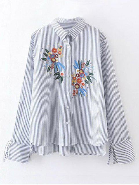 new High Low Flower Embroidered Striped Shirt - STRIPE M Mobile