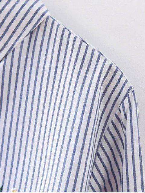hot High Low Flower Embroidered Striped Shirt - STRIPE S Mobile
