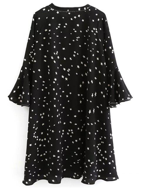 new Star Print Flare Sleeve Bow Tie Dress - BLACK S Mobile