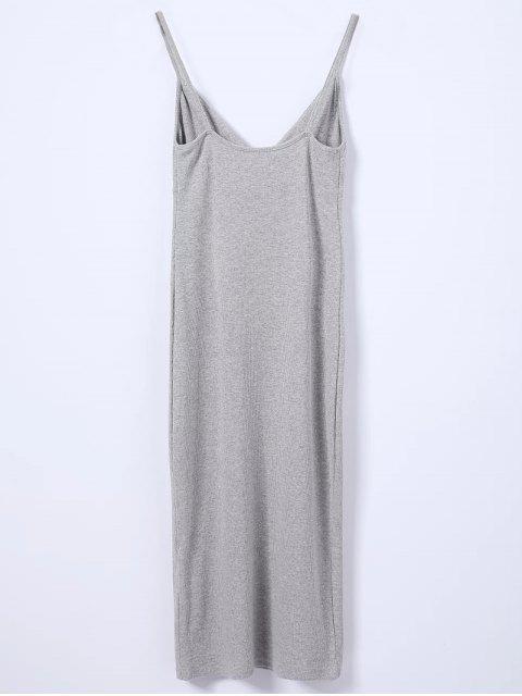 best Slip Surplice Slinky Tank Dress - LIGHT GRAY S Mobile