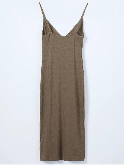 online Slip Surplice Slinky Tank Dress - GREY OLIVE M Mobile