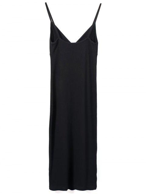 outfit Slip Surplice Slinky Tank Dress - BLACK S Mobile