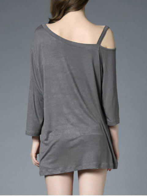 ladies Relaxed Fit Asymmetric Tee - LIGHT GRAY ONE SIZE Mobile