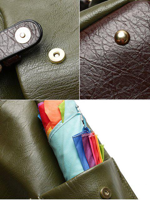 Mochila de cuero de la hebilla de correas de imitación - Verde Oliva  Mobile