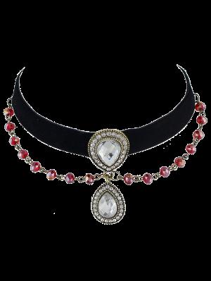Faux Gem Beads Velvet Choker Necklace - Black