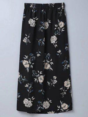 Hendidura Floral Una Línea De Falda - Negro L