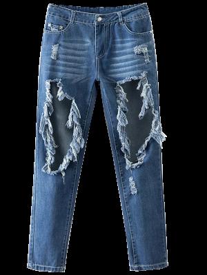 Recorte Destroyed Jeans Cónicos - Azul Xl