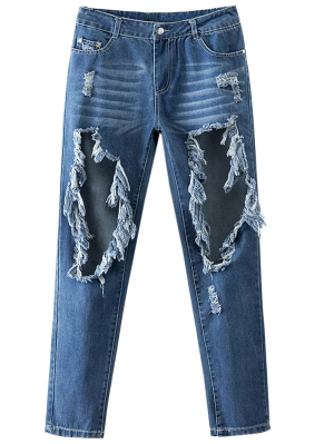 Cut Out Destroyed Tapered Jeans - Blue S