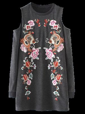 Embroidered Cold Shoulder Sweatshirt Dress - Gray S