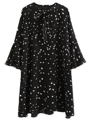 Star Print Flare Manches Bow Tie Robe - Noir S