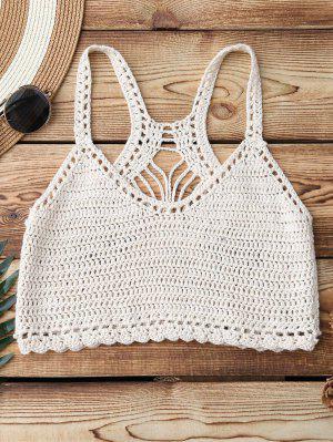 Knitting Crochet Bikini Top - Beige
