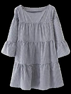 Vestido Recto Casual De Cuadro  - Azul Purpúreo S
