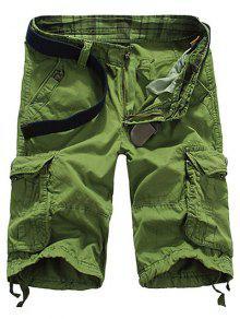 فضفاض صالح مستقيم الساق متعدد جيب الكحول الكفات سحاب السروال للرجال - التفاح الأخضر 32