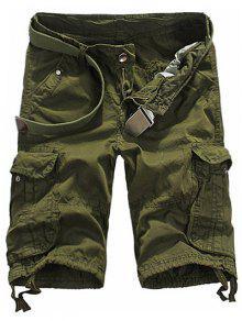 فضفاض صالح مستقيم الساق متعدد جيب الكحول الكفات سحاب السروال للرجال - الجيش الأخضر 31