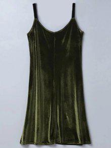 Casual Velvet Midi Dress - Army Green S