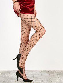 تصميم حلقة كبيرة فيشنيت جوارب طويلة - أسود
