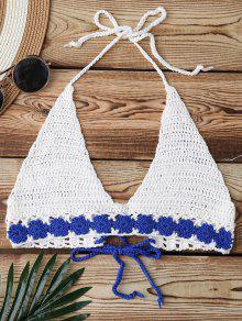 Crochet Back Lace Up Swim Top - White