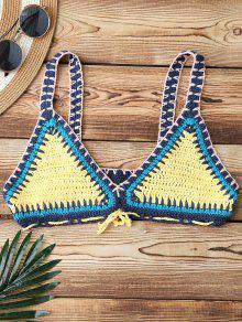 Color Block Crochet Bikini Bra - Yellow
