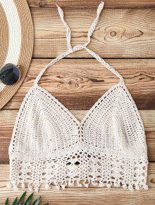 Halter Crochet Bikini Bra - Apricot