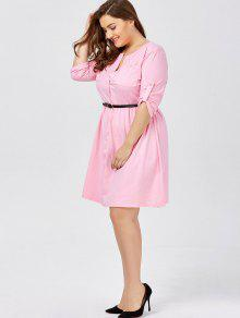 36a73e2ab75 34% OFF  2019 Plus Size Long Sleeve Button Down Shirt Dress With ...