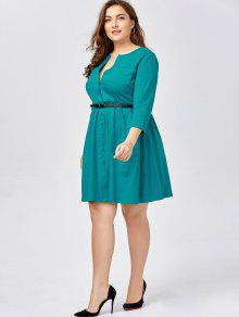 88a4c2d8d35 2019 Plus Size Long Sleeve Button Down Shirt Dress With Belt In BLUE ...