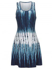 فستان سترة طباعة نظرية مصغر - ازرق رمادي M