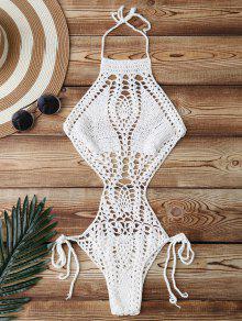 ملابس سباحة الحبك مع الفتحة المرتفعة - أبيض