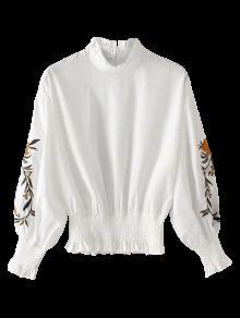Floral Bordado Shirred Hem Blusa - Branco M