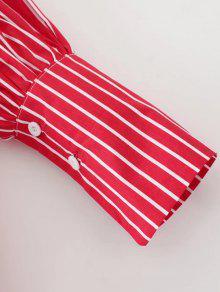 Azul Bolsillo Rayada Camisa Plano Collar xRqFf