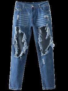 Cut Out Destroyed Tapered Jeans