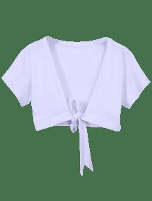 Knot Hem Open Front Cropped Top - White