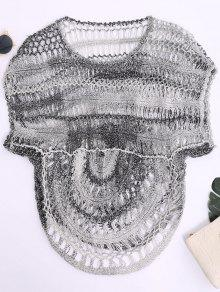 Dolman Sleeve Crochet Sheer Top - Black Grey M