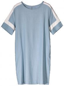 Vestido Casual De Lino Con Color Bloque - Azul Claro L