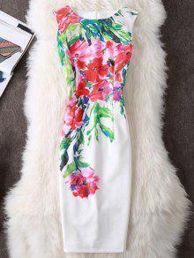 الأزهار طباعة الشق أكمام غمد اللباس - أبيض L