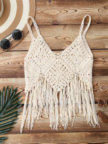 Fringed Crochet Bikini Top - Apricot