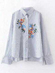 High Low Flower Embroidered Striped Shirt - Stripe M