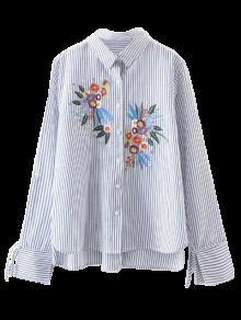 Bajo Rayas Raya Camisa De Bordado L Alto Flores nvxPgRp