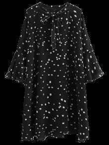 Star Print Flare Sleeve Bow Tie Dress - Black S